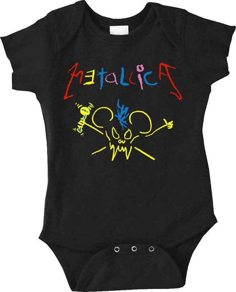 Metallica- Crayon Drawing on a black one piece snap bottom baby shirt