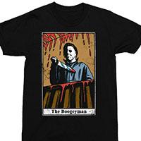 Halloween- Michael Myers Boogeyman Tarot Card on a black shirt