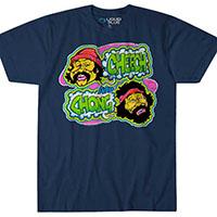 Cheech And Chong- Faces on a navy shirt