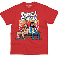 Cheech And Chong- Couch Smoke on a red shirt