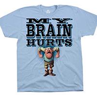 Monty Python- My Brain Hurts on a light blue shirt