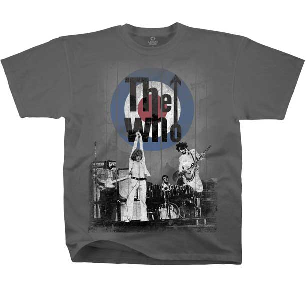 Who- Live Pic on a charcoal ringspun cotton shirt