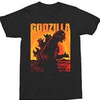 Godzilla- Sunset on a black shirt