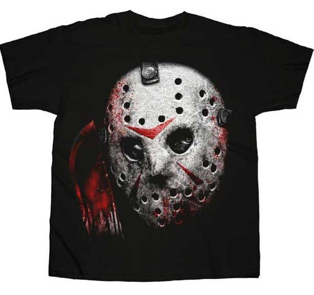 Friday The 13th- Mask & Machete on a black shirt
