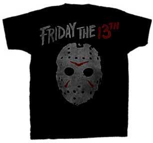 Friday The 13th- Vintage Logo & Mask on a black shirt