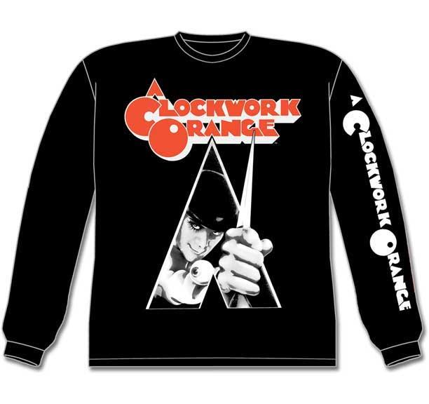 Clockwork Orange- Alex on front, Logo on sleeve on a black LONG SLEEVE shirt
