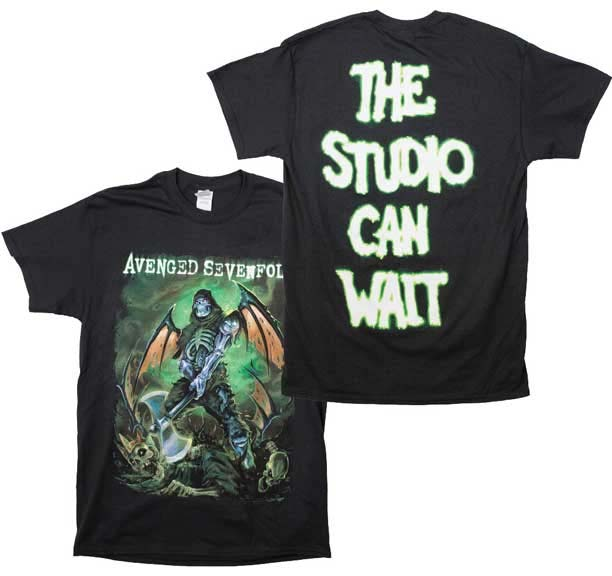 Avenged Sevenfold- Executioner on front, The Studio Can Wait on back on a black shirt