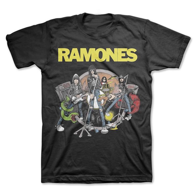 Ramones- Cartoon Live Pic on a black shirt