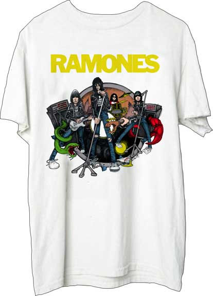 Ramones- Cartoon Live Pic on a white shirt