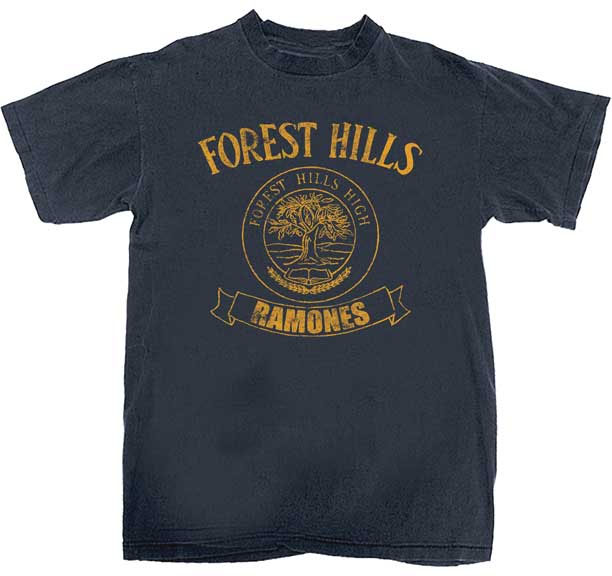 Ramones- Forest Hills on front, Presidential Seal on back on a navy ringspun cotton shirt (Sale price!)