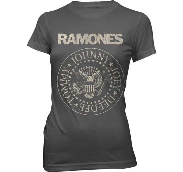 Ramones- Distressed Presidential Seal on a grey girls fitted shirt