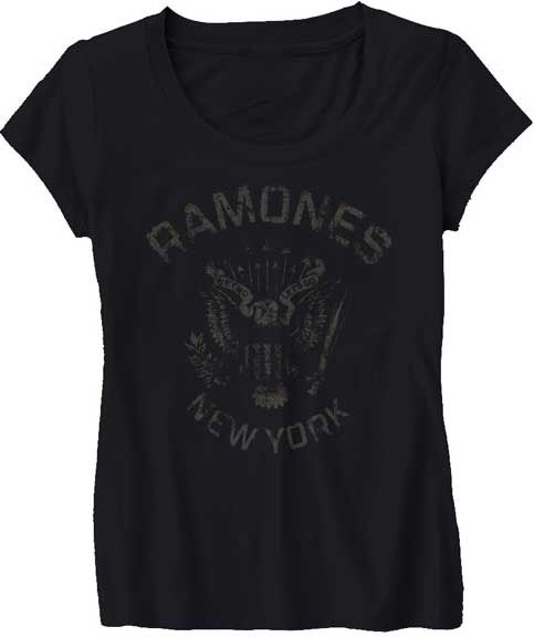 Ramones- Distressed New York Eagle on a black girls fitted shirt