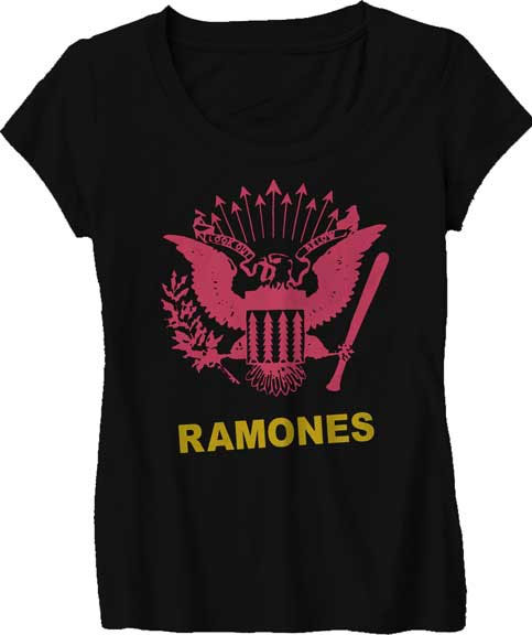 Ramones- Pink Eagle on a black girls fitted shirt (Sale price!)