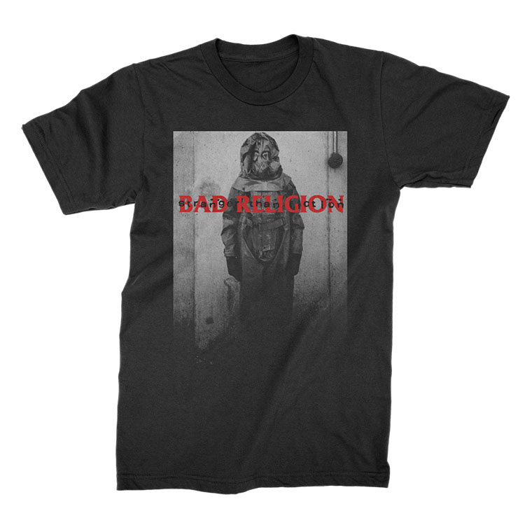 Bad Religion- Stranger Than Fiction (Hazmat Suit) on a black shirt
