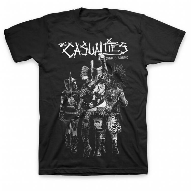 Casualties- Chaos Sound on a black shirt