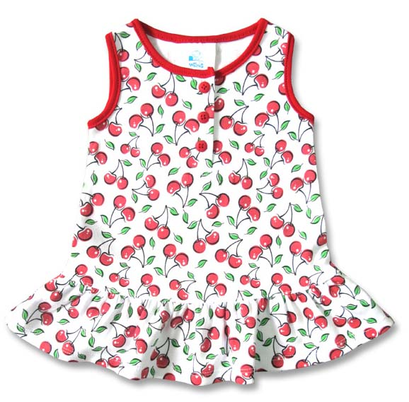Cute Cherries Dress by Six Bunnies (S:0-3m, M:3-6m, L:6-12m) - SALE