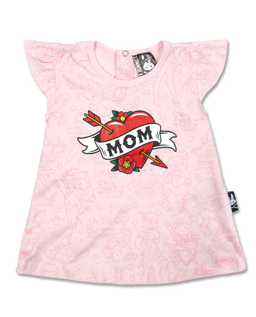 Mom Tattoo Heart Dress by Six Bunnies (S:0-3m, M:3-6m, L:6-12m)