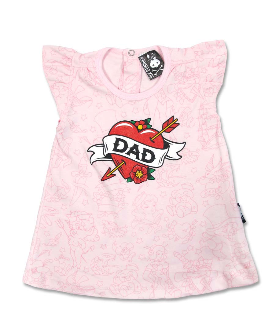 Dad Tattoo Heart Dress by Six Bunnies (S:0-3m, M:3-6m, L:6-12m) - SALE