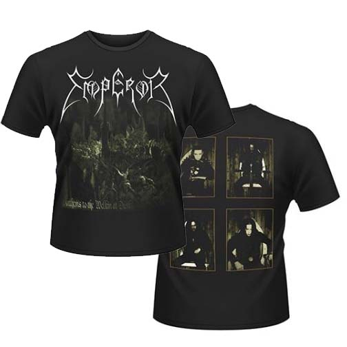 Emperor- Anthems To Welkin At Dusk (Large Logo Across Top) on front, Band Pics on back on a black shirt