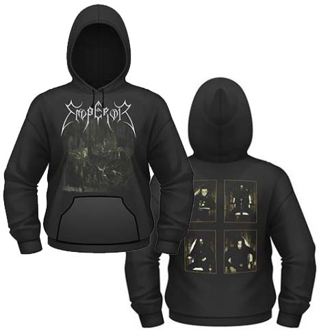 Emperor- Anthems To Welkin on front, Band Pics on back on a black hooded sweatshirt