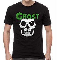 Ghost- Papa Fiend Skull (Misfits Tribute) on a black ringspun cotton shirt