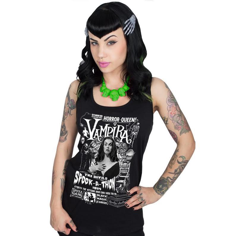 Vampira Spookathon Sleeveless Black Girls Shirt by Kreepsville 666