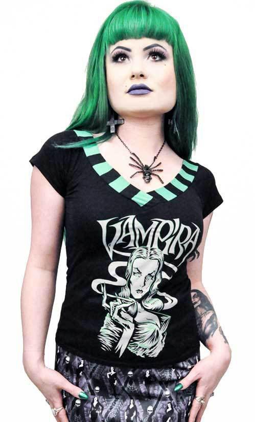 Vampira Smokin' Glow Women's V Striped Shoulder top by Kreepsville 666 - glows in the dark