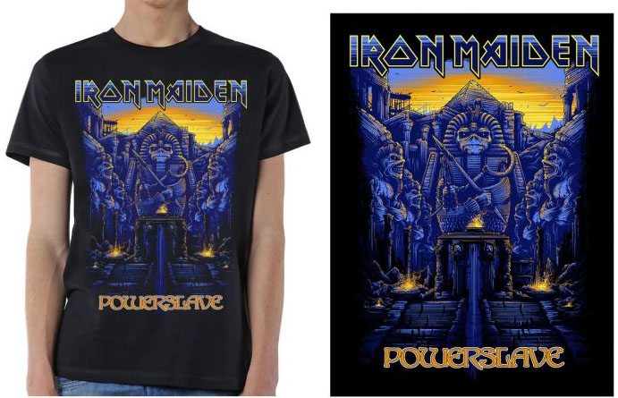 Iron Maiden- Powerslave (Steps) on a black shirt