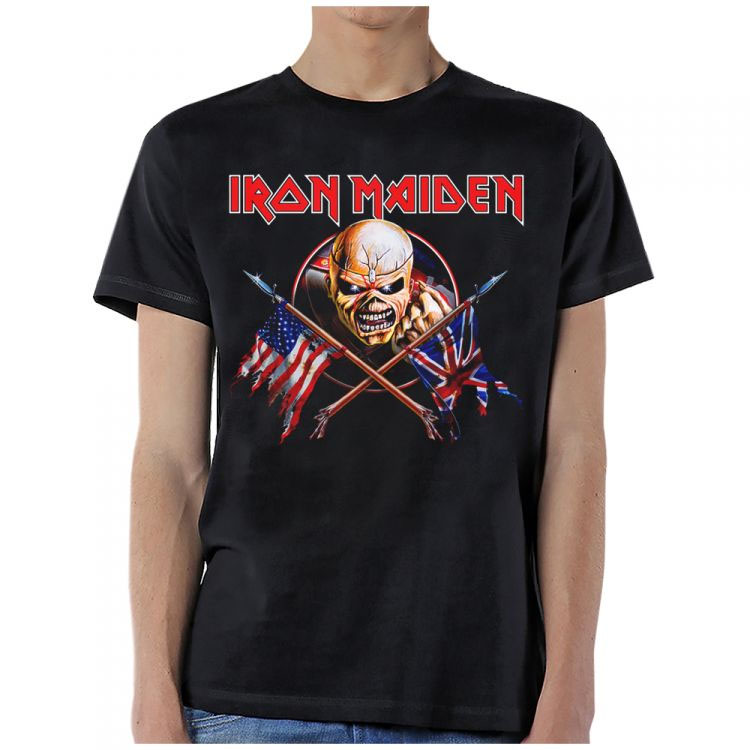Iron Maiden- Crossed Flags on a black shirt