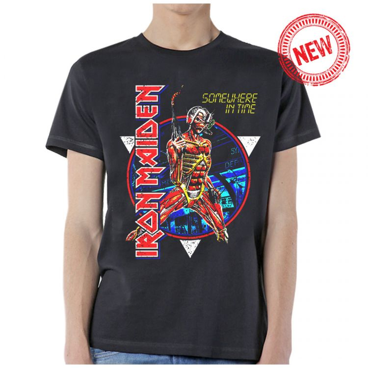 Iron Maiden- Somewhere In Time Stranger Circle Pic on a charcoal shirt