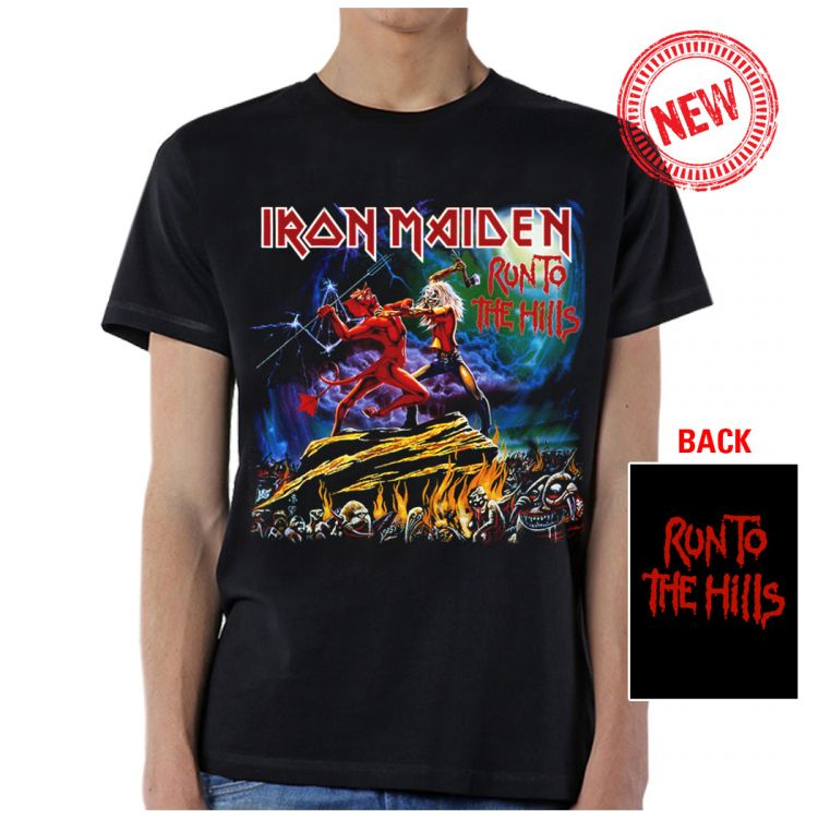 Iron Maiden- Run To The Hills on front & back on a black shirt