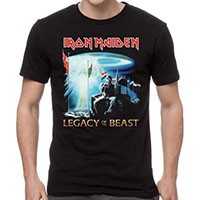 Iron Maiden- Legacy Of The Beast on front, Tour Dates on back on a black shirt