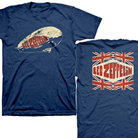 Led Zeppelin- Logo on front & back on a navy shirt (Sale price!)