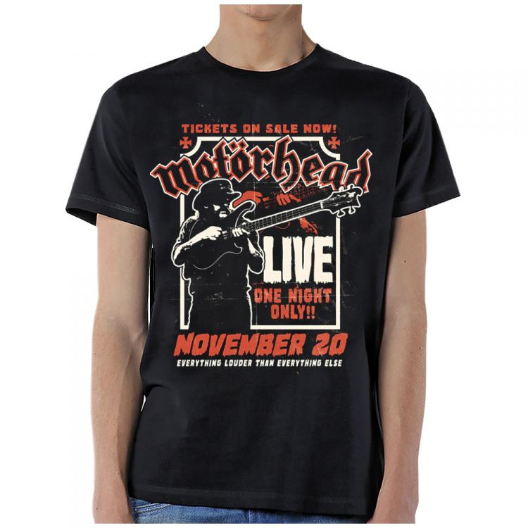 Motorhead- Live, One Night Only! on a black shirt