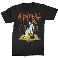 Midnight- Satanic Sleaze on a black shirt
