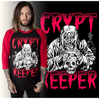 Tales From The Crypt -Crypt Keeper on a black body raglan guys shirt with  3/4 red arms by Kreepsville 666 - glows in the dark