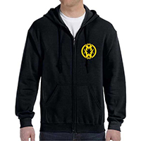 Municipal Waste- Symbol on front, Reaper on back on a black zip up hooded sweatshirt