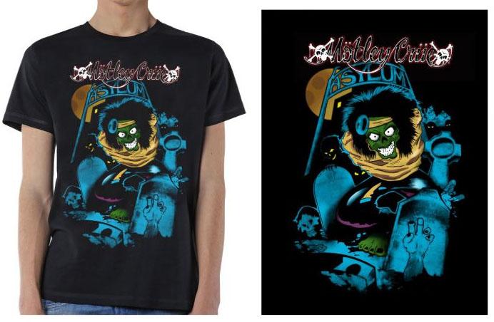 Motley Crue- Asylum on a black shirt