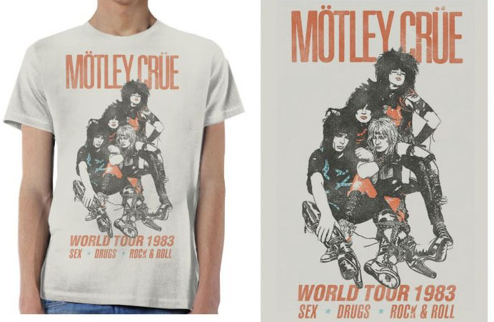 Motley Crue- World Tour 1983, Sex Drugs Rock & Roll on a silver ringspun cotton shirt