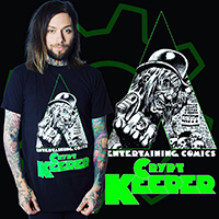 Tales From The Crypt - Clockwork Crypt Keeper on a black guys shirt by Kreepsville 666 - Glows in the Dark
