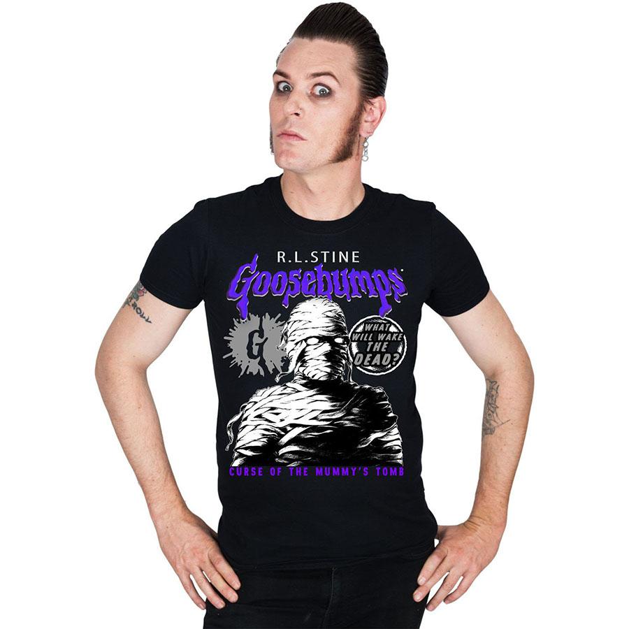 Goosebumps Mummies Curse on a black guys shirt by Kreepsville 666 - Glows in the Dark