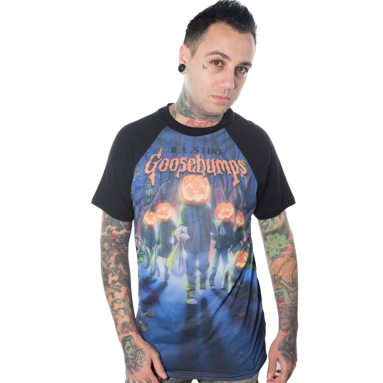Goosebumps Pumpkin Crew on a black guys shirt by Kreepsville 666