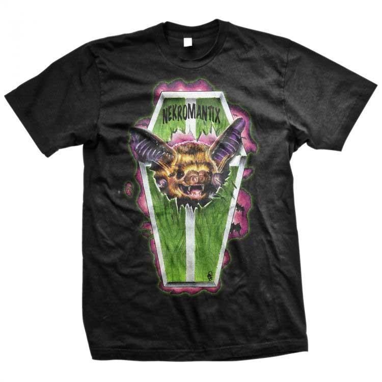 Nekromantix- Bat Coffin on a black ringspun cotton shirt