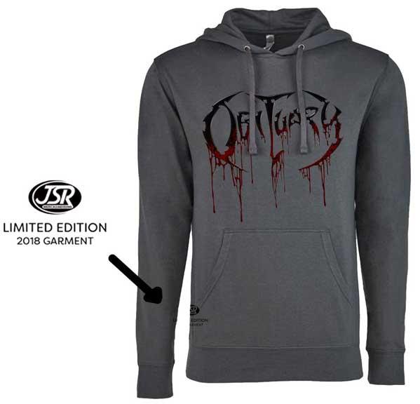 Obituary- Logo on a grey lightweight hooded sweatshirt