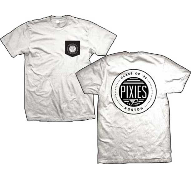 Pixies- Pocket Sewn On Front, Class Of 86 on back on a white ringspun cotton shirt