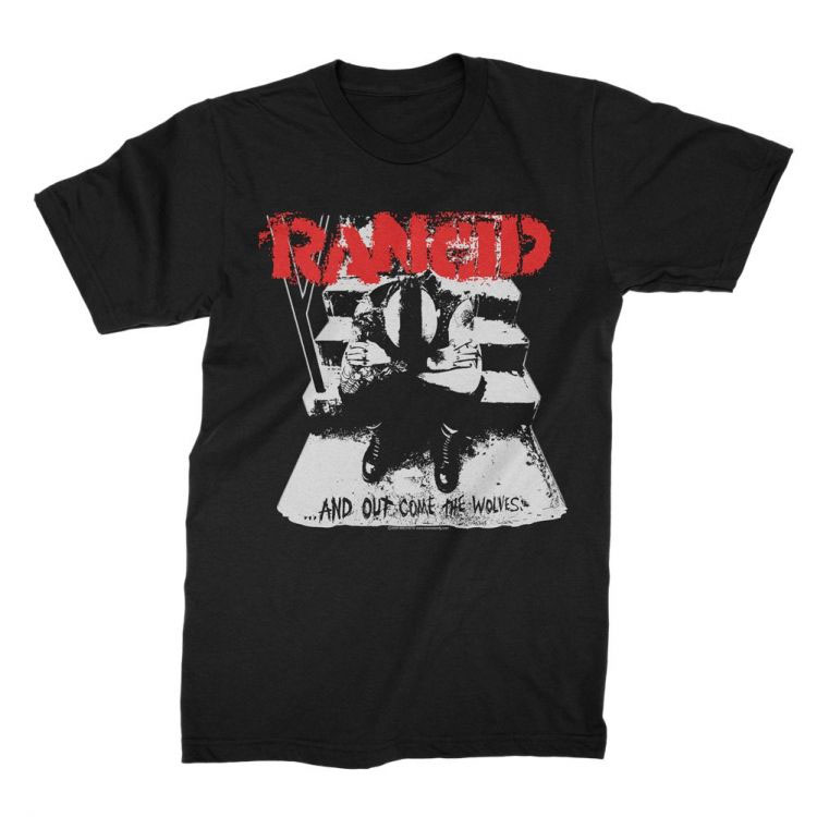 Rancid- And Out Come The Wolves on a black shirt