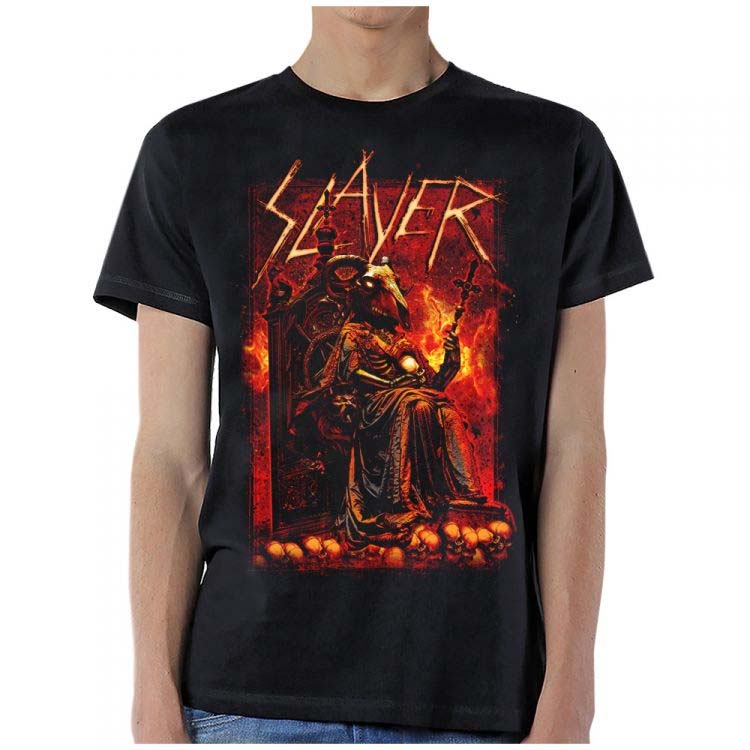 Slayer- Goat Devil on a black shirt