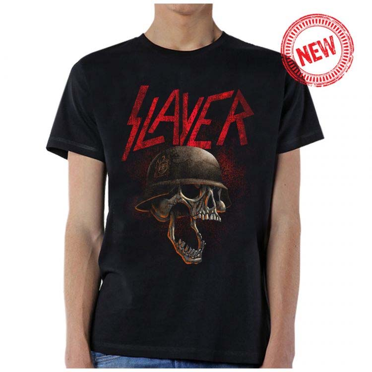Slayer- Hellmitt on a black shirt