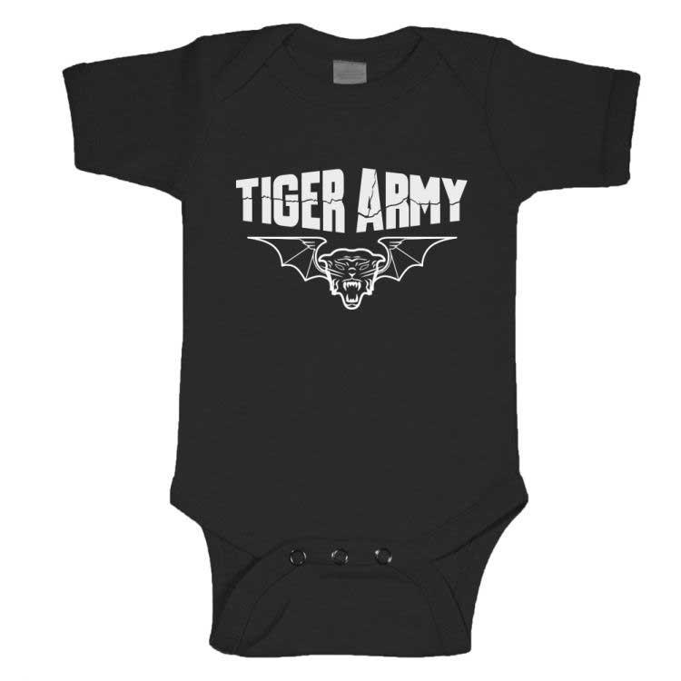 Tiger Army- Tigerbat on a black onesie (S:3-6m, M:6-12m, L:12-18m, XL:18-24m)