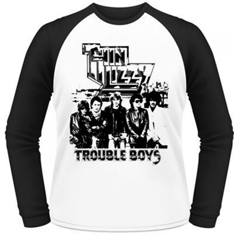 Thin Lizzy- Trouble Boys on a white/black long sleeve shirt